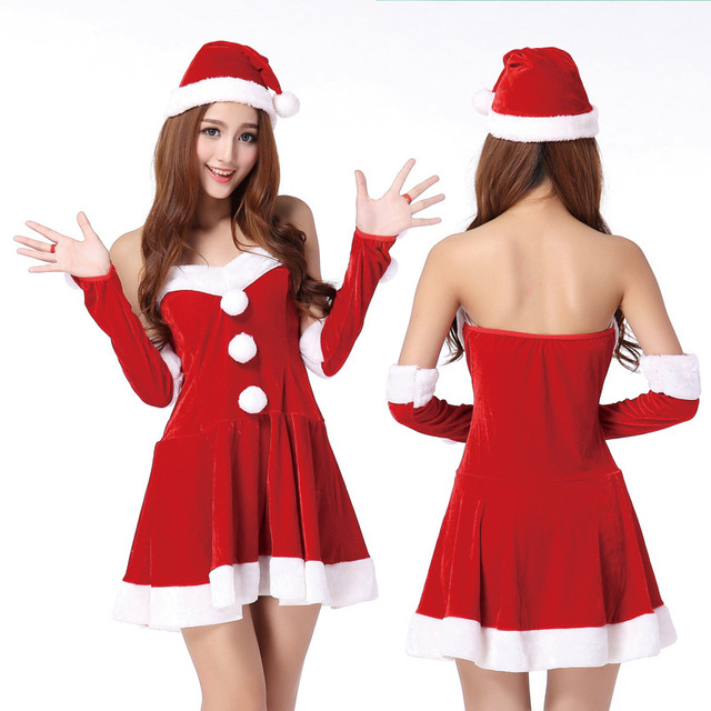 14% Off Adult Strapless Christmas Cosplay Fancy Dress Xmas Halloween Costume  Sexy New Year Miss Santa Party Clothing red white 76b4e3a15