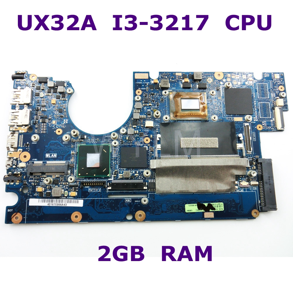 UX32A With i3-3217 CPU 2GB RAM Mainboard REV 2.0 For ASUS UX32A UX32V UX32VD laptop motherboard HM76 100%Tested Free shipping ux32a motherboard i3 cpu rev 2 1 for asus ux32a ux32vd laptop motherboard ux32a mainboard ux32a motherboard test 100% ok