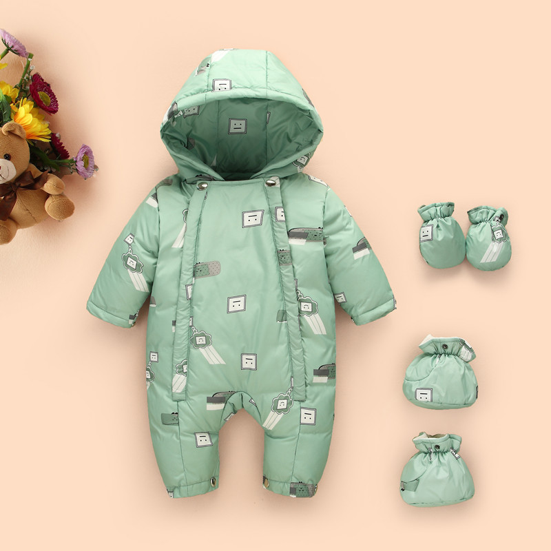 Newborn Baby Girls Boys Rompers Winter Thick Warm White Duck Down Toddler Hooded Jumpsuit Kids Outwear Feathers Clothing Suit 2017 new baby rompers winter thick warm baby boy clothing long sleeve hooded jumpsuit kids newborn outwear for 0 12m baby girls