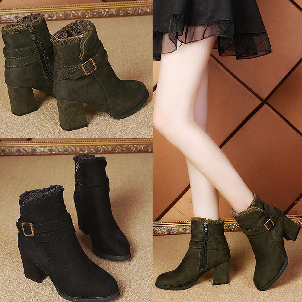 ankle boots for Women Women Ankle Boots Martin Boots Side Zipper Belt Buckle  Booties Party Boots 6f1a7719924d