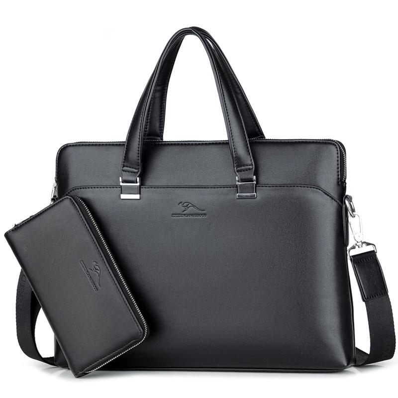 2019 New Luxury Leather Business Men's Briefcase Male Fashion Shoulder Bag Men Messenger Bag Boy Casual Tote Computer Bag Lager