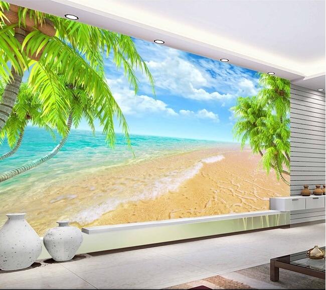 Popular landscape wall mural buy cheap landscape wall for Beach wall mural cheap