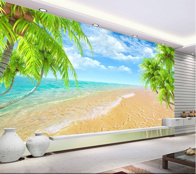 Custom Landscape Wall Mural Hawaii Coconut Beach Mural For The Living Room Bedroom Tv