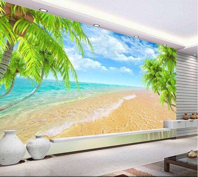 Custom Landscape Wall Mural Hawaii Coconut Beach Mural For The