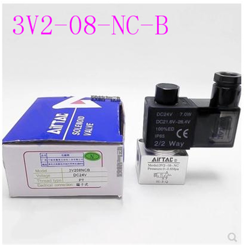 3V2 08 NC B zero pressure start direct acting two position three way DC24V normally open NO normally closed AC220V in Valves Parts from Automobiles Motorcycles