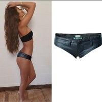 Olrain European Wind Nightclub Sexy Shorts New Fashion Girl Hipster Stretch Denim Shorts PU Leather Butten