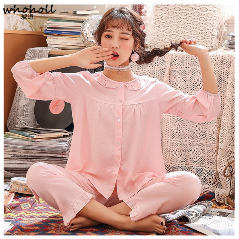 5394a5dc4e3f WHOHOLL Large Size Ladies Pajamas Set Long Sleeved Loose Two Piece Shirts+pants  Female Nightwear