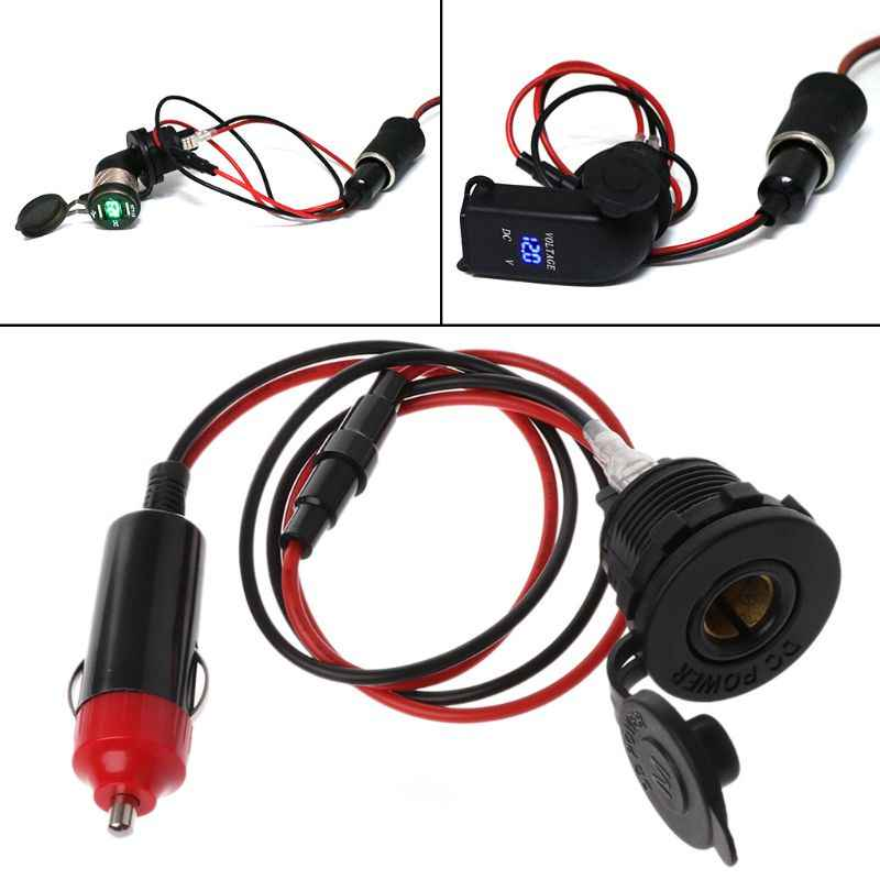 12V 24V Standard Car Cigarette Lighter Male to Hella DIN Female Adapter Cable With Waterproof Cap for Cars SUV ATV