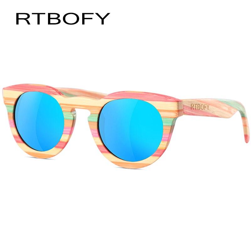 RTBOFY Wood Sunglasses Women font b Cat b font font b Eye b font Polarized Lens