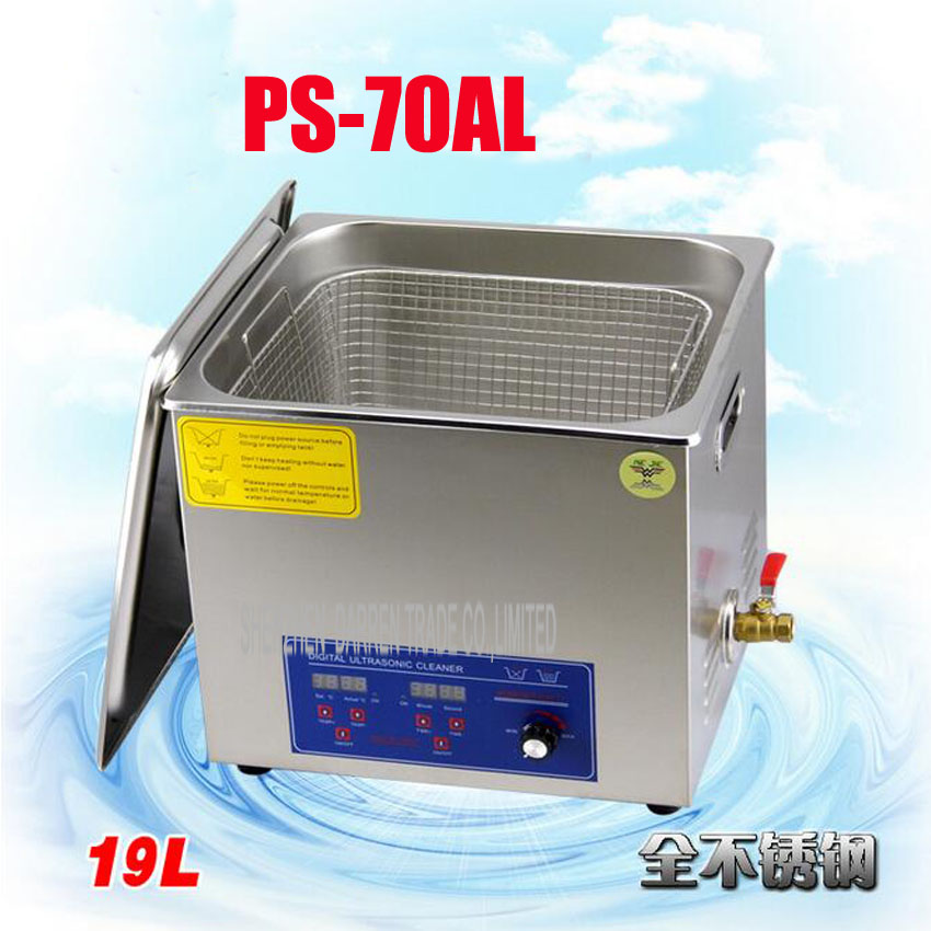 1PC 110V/220V PCB/industrial control board  Ultrasonic Cleaner 19L Cleaning Equipment Stainless Steel Cleaning Machine 1pc 110v 220v ps 60al 360w ultrasonic cleaner 15l cleaning equipment stainless steel cleaning machine