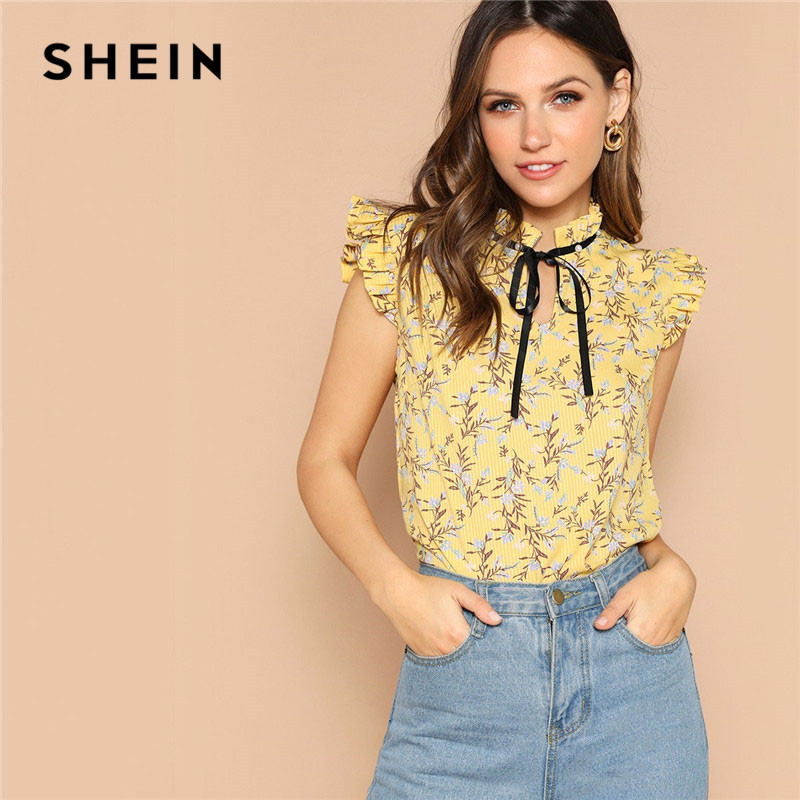 49a8b690ef SHEIN Yellow Bow Detail Tie Neck Ruffle Trim Floral Print Summer Top Women  Sleeveless Stand Collar Cute Tops And Blouses