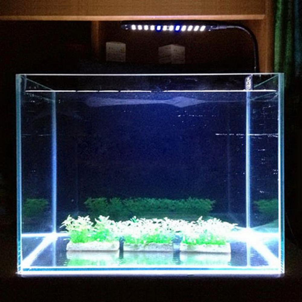 48 LED DC 15V 3W 2 Mode Plastic Aquarium Fish Plant Grow Clip-on White &Blue Light Bulb Lamp Adjustable Arm Energy Saving