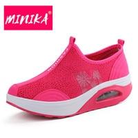 MINIKA Famous Designer Women Mesh Shoes Slip On Shallow Mouth Women Casual Shoes Solid Colors Women