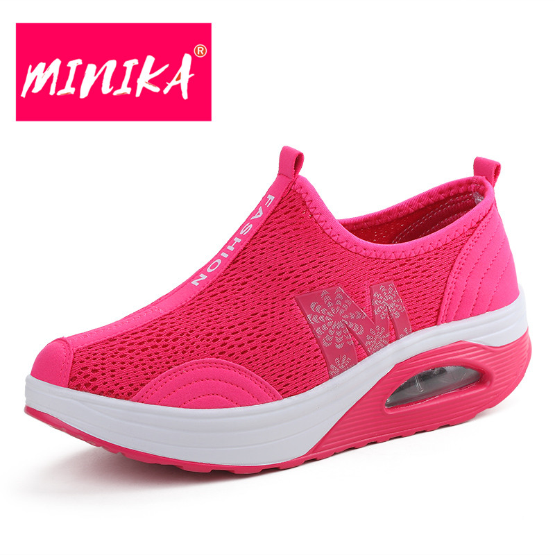 MINIKA Famous Designer Women Mesh Shoes Slip-On Shallow Mouth Women Casual Shoes Solid Colors Women Fashion Durable Flats Shoes minika fashion air mesh shoes women breathable