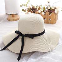 2019 chapeau de paille d'été femmes grand large bord chapeau de plage disquette pliable Protection UV chapeaux de soleil pour les femmes Bowknot chapeau d'été