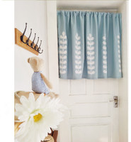 Countryside Half curtain Embroidered Window Valance Wear Tube Light Shading Coffee Curtain for Kitchen Cabinet Door