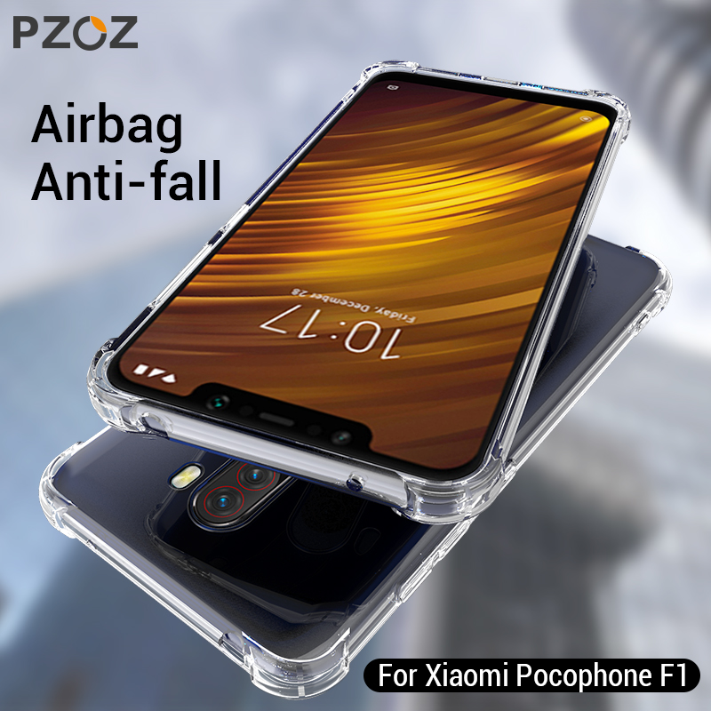 PZOZ For Xiaomi Pocophone F1 Case Shockproof Phone Protection Shell Cover TPU Soft Clear Protector Bag For Xiaomi F1 PocophoneF1