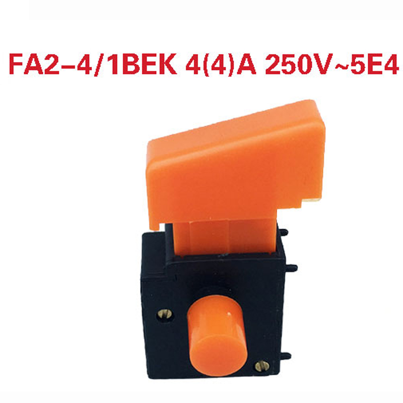 2pcs <font><b>4</b></font>(<font><b>4</b></font>)A 250V 5E4 Self Locking Power Tool Trigger Button Switch for Electric Drill <font><b>FA2</b></font>-<font><b>4</b></font>/<font><b>1BEK</b></font> Electric Tool Parts, Orange image