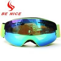 Benice Brand Children Ski Goggles Anti Fog Big Ski Mask Double Layers Glasses Kids Winter Snow