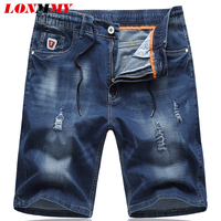 LONMMY Plus size 5XL 6XL Skinny jeans men Fashion Denim cheap jeans Casual Elastic drawstring Holes Summer shorts mens 2018 New
