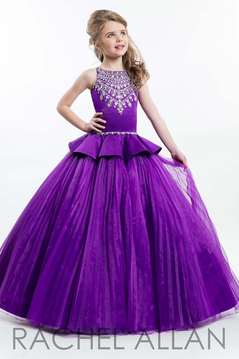 Sparkly Beaded Purple Ball Gown Girls Pageant Dresses 2017 New O ...