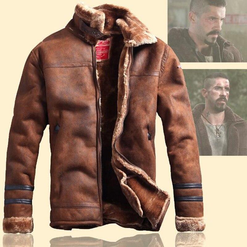 Gaya Rusia Winter Lelaki Bulu Jaket Kulit Faux kasual Fesyen - Pakaian lelaki - Foto 3