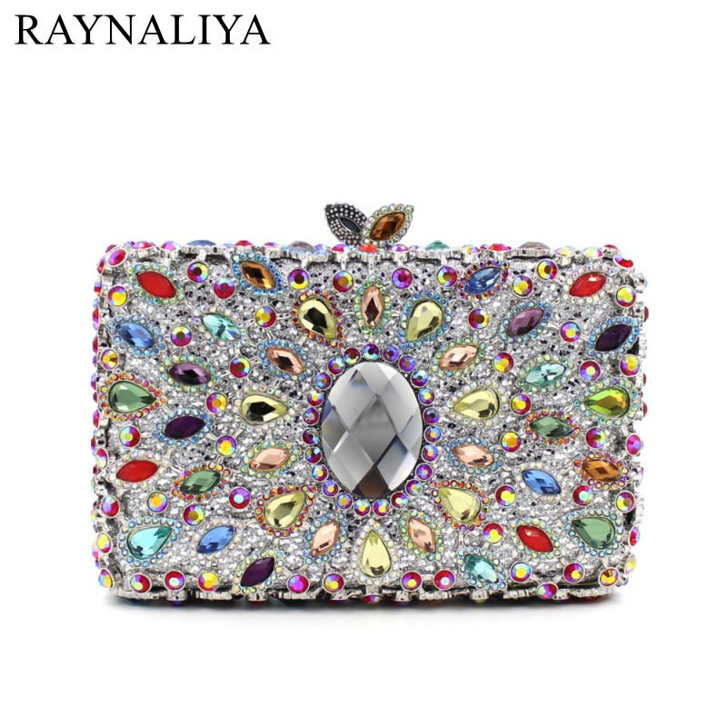 Women Luxury Floral Clutch Designer Handbags Female Evening Bags Fashion Bridal Wedding Bag Handmade Glitter Box SMYZH-E0330 цена
