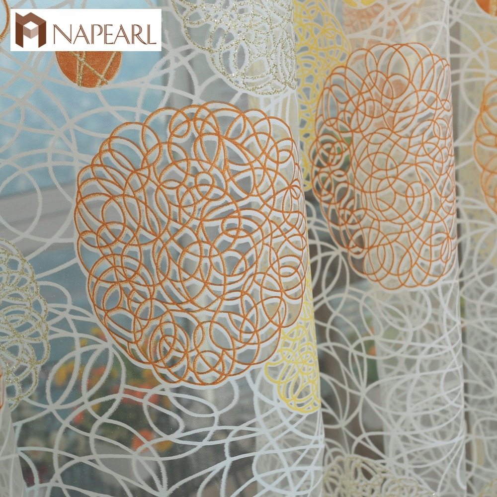 NAPEARL Rustic Circle Design Tulle Curtains Window Screening Balcony Modern Sheer Transparent Organza Fabric Custom Living Room