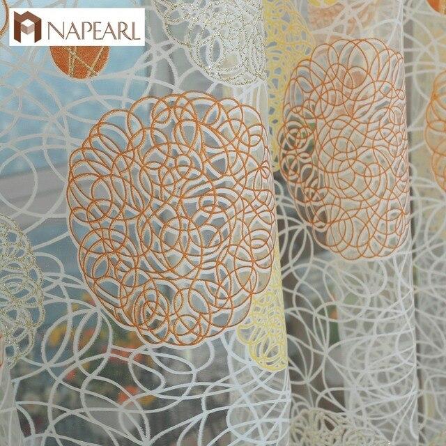 NAPEARL Rustico cerchio disegno di tulle tende della finestra di screening balco