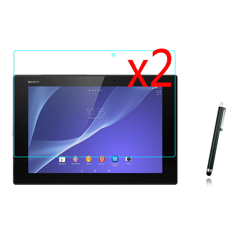3in1 2x LCD Clear Screen Protector Films Protective Film Guards 1x Stylus For Sony Xperia Tablet