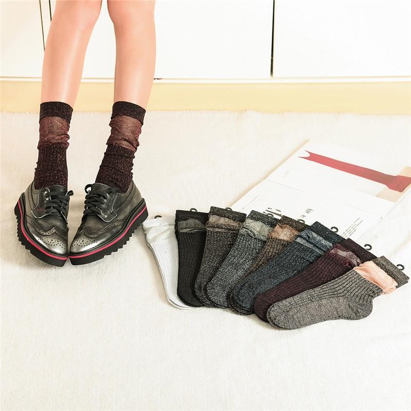 2018 Newest Fashion Designer Heap Short Socks Women Harajuku Spring Korea Design Gold Sliver Silk Loose Boot Socks For Ladies