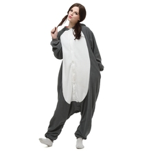 Popular cosplay traje de la historieta animal de dormir Lobo animal polar fleece unisex adulta onesies pijamas homewear