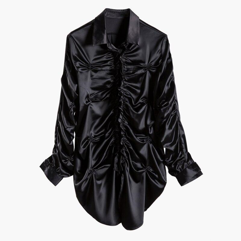 HAUTE RUE nouvelle mode 2019 Designer Blouse à manches longues de Femmes Fold chemise en satin