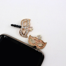 Rhinestone Mask Headphones Dust Plug Cell Phone Accessories For