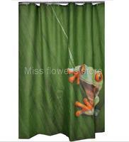 Cute Frog Design Shower Curtain Bathroom Waterproof Mildewproof Polyester Fabric With 12 Hooks 180cm 200cm