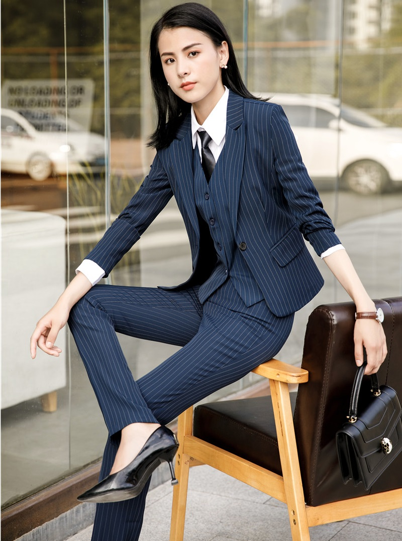 Fashion Striped 2018 Autumn Winter Blazers With 3 Pieces Jackets + Pants + Vest & Waistcoat Women Uniform Styles Business Sets
