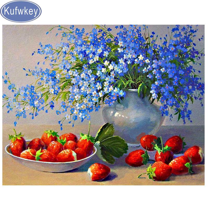 5d DIY Diamante mosaic KUFWKEY margarida azul completo Quadrado/Rodada broca, diamante pintura de frutas bordado ponto Cruz adesivo de Parede G41
