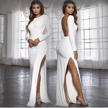 European and American Sexy Halter Backless Slit Long Sleeves Floor-Length Dress Summer Party