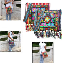 Hmong Vintage Ethnic Shoulder Bag Embroidery Boho Hippie Tassel Tote Messenger Chinese Ethnic Style Colorful Bag(China)