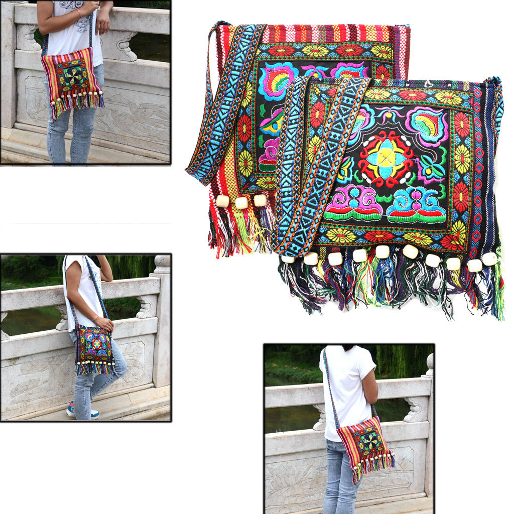 Indian Kantha Stitching Yoga Bags Colorful Bag Gifts for Her with Adjustable Stripe Zipper Gym Equipment Bag Multicolored casual daily bag