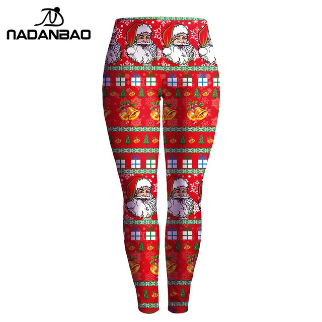 NADANBAO Summer Autumn Leggings Christmas Printed Women Legging Red Slim Leggins High Waist Legins  Woman Pants