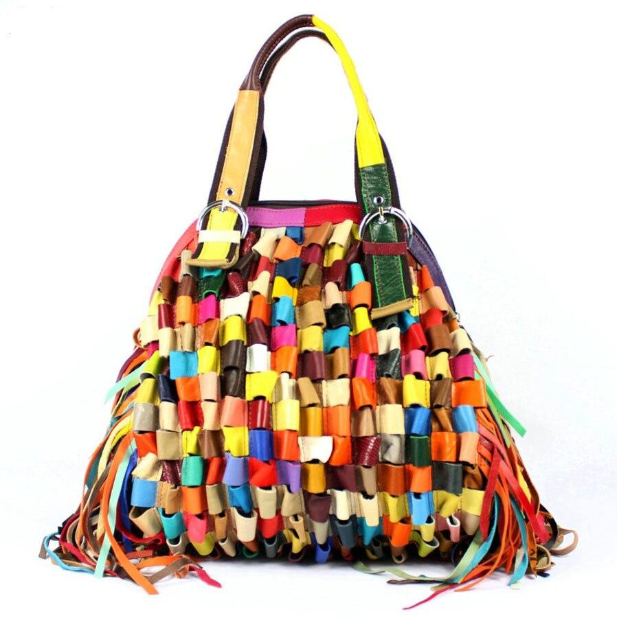 New Women Handbag Genuine Leather Bags Messenger Shoulder Fashion Patchwork Handbags Tassel Tote Bag A128 In Top Handle From