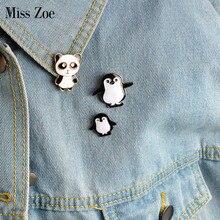 Broche en Denim pour veste, épingle à boutons, animal de dessin animé, Panda Mama et bébé pingouin, Badge, cadeau pour enfant, bijoux, 3 pièces/ensemble