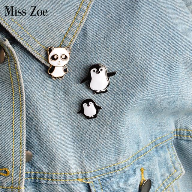 3pcs/set Cartoon animal Pin Panda Mama and baby penguin Brooch Button Pins Denim