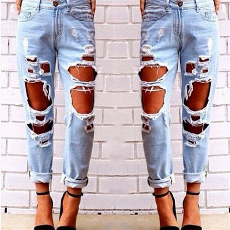 Blue Ripped Distressed Boyfriend Ankle Denim   Jeans   Women Casual Summer Autumn Plain Straight Leg Pants Spring Trousers C1223