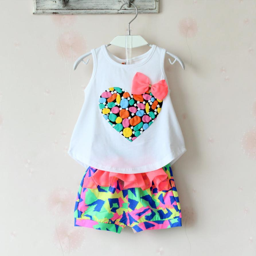 Korean Kids Clothes Tracksuit Heart Printed Bow Summer white Vest Blouse Shorts Sets Children Clothing Set Girls ensemble fille 2015 summer style girls clothes children clothing set girls clothing sets new family shorts shirt shorts belt ensemble fille
