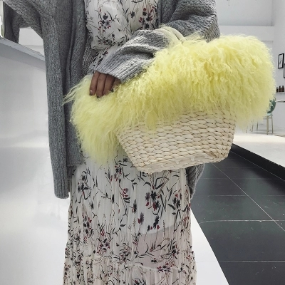 Fashionable long hair curly mongolian Lamb fur handbag real Tibetan sheep fur crossbody bag goat fur shoulder Straw Beach BagFashionable long hair curly mongolian Lamb fur handbag real Tibetan sheep fur crossbody bag goat fur shoulder Straw Beach Bag