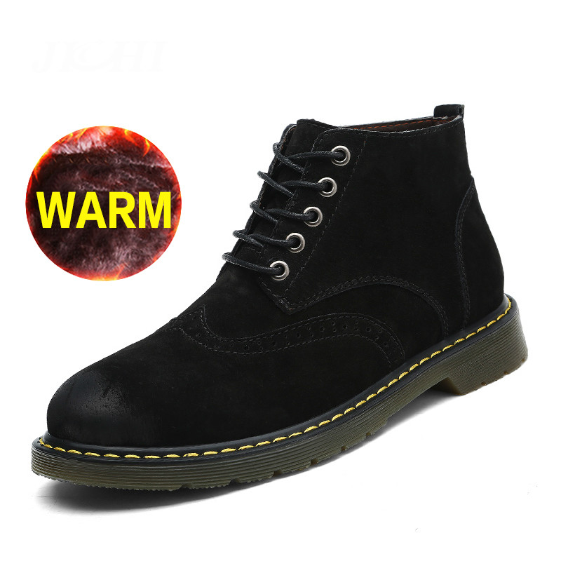Brand Super Warm Men Boots Winter Leather Boots Waterproof Rubber Snow Boots England Retro Ankle Boots for Men Winter Shoes стоимость