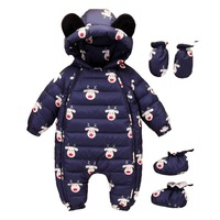 2018 Winter Warm Baby Duck Down Rompers Infant Boy Thick Jumpsuit Baby Outerwear Girl Snowsuit Newborn Romper+Shoes+Gloves 3pcs