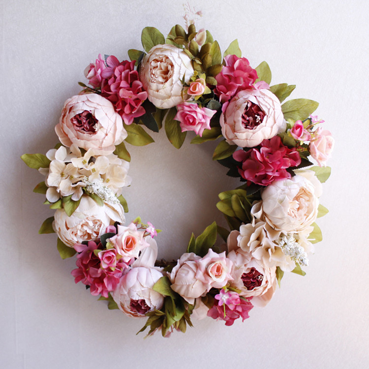 Flone Artificial Peony Wreaths Silk Flower Simulation Flowers Wreaths Door Ornaments Garland Wedding Home Party Decorative (4)